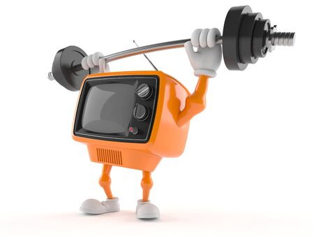Retro TV character lifting heavy barbell isolated on white background