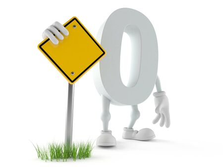 Zero character with blank road sign isolated on white background Stock Photo