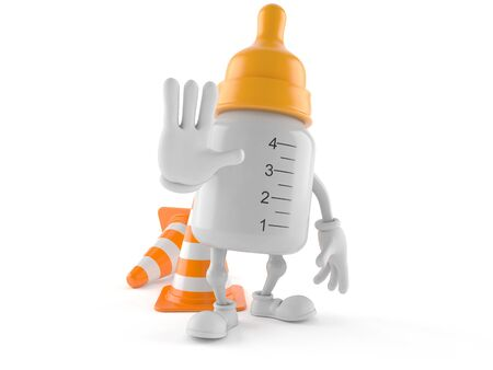 Baby bottle character with traffic cone isolated on white background
