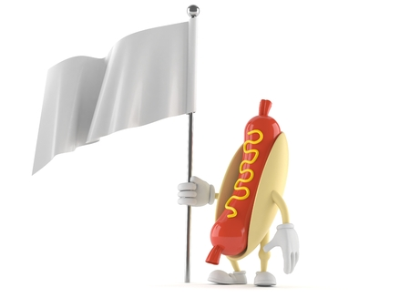 Hot dog character with blank flag isolated on white background
