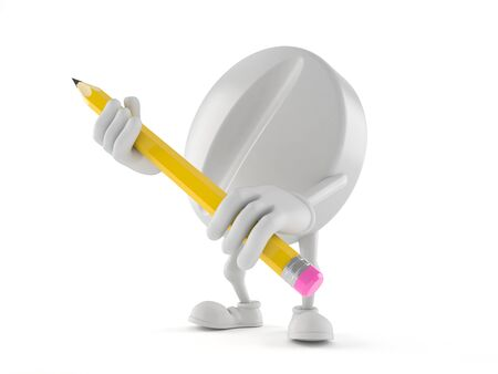 Tablet character holding pencil isolated on white background