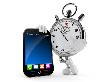 Stopwatch character with smart phone isolated on white background