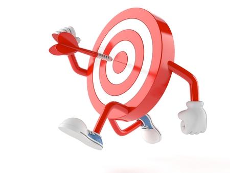 Bulls eye character running on white background Stock Photo