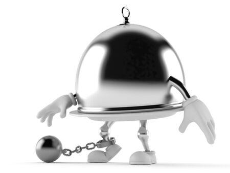 Zilveren cateringskoepel met gevangenisbal die op witte achtergrond wordt geïsoleerd Stockfoto