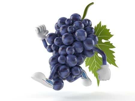 Druivenkarakter op witte achtergrond wordt geïsoleerd die Stockfoto