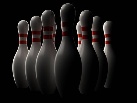 Bowling pins isolated on black background Imagens