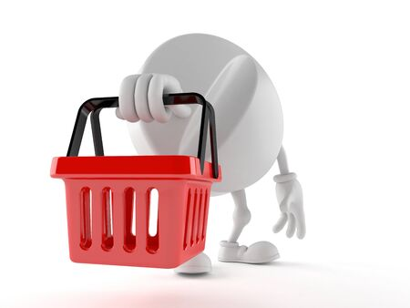 Tablet character holding shopping basket isolated on white background