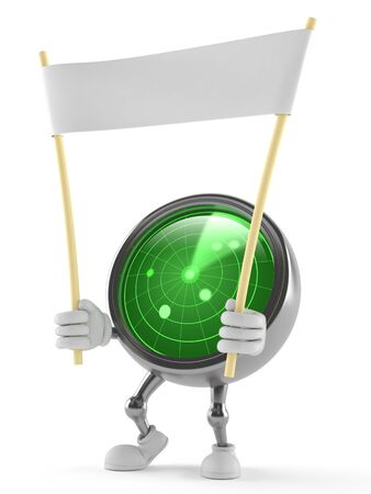 Radar character holding blank banner isolated on white background