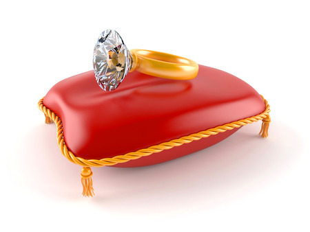 Diamond ring with red pillow isolated on white background Stock Photo