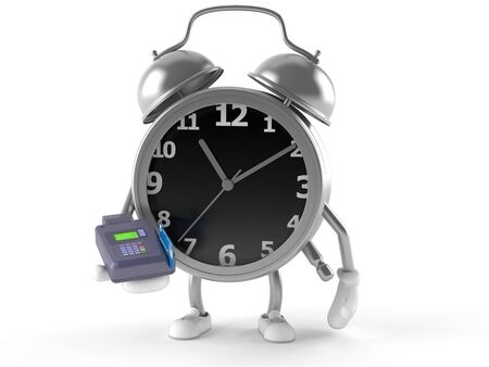 Alarm clock character holding credit card reader isolated on white background