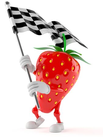 Strawberry character with racing flag isolated on white background Stock Photo