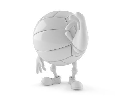 Volleyball character with ok gesture isolated on white background