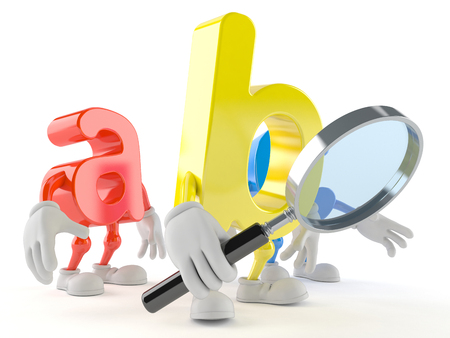 ABC character looking through magnifying glass isolated on white background