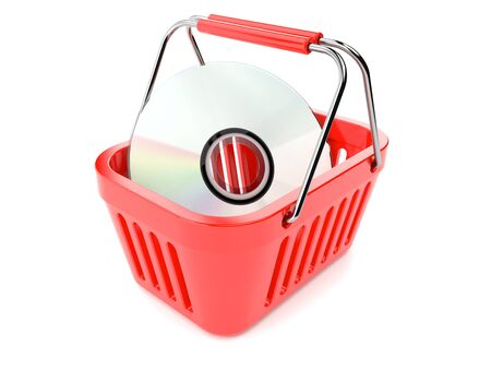 Shopping basket with cd isolated on white background
