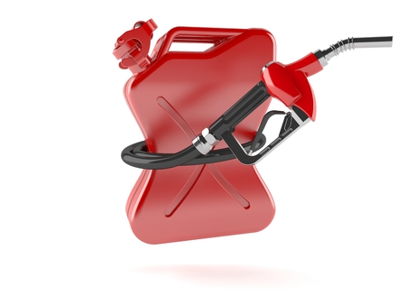 Gasoline nozzle with canister isolated on white background