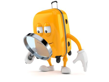 Suitcase character looking through magnifying glass isolated on white background