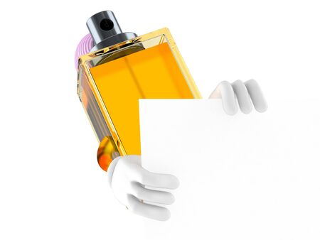 Perfume character behind white board isolated on white background Stock Photo