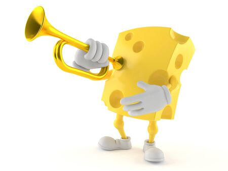 Cheese character playing the trumpet isolated on white background Stock Photo
