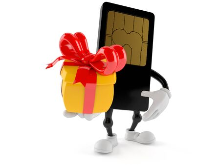 SIM card character holding gift isolated on white background Stock Photo