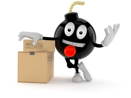 Bomb character with stack of boxes isolated on white background
