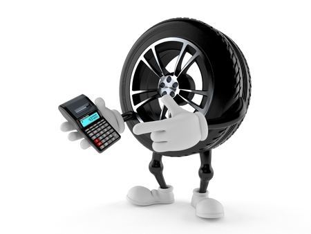Car wheel character using calculator isolated on white background