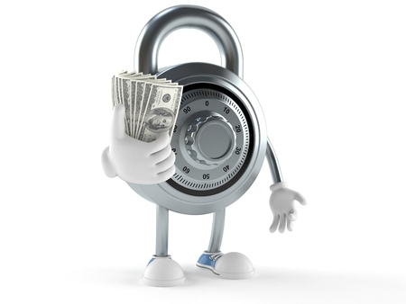 Combination lock character with money isolated on white background Stock Photo