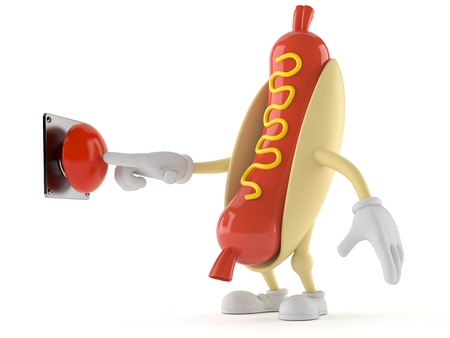 Hot dog character pushing button isolated on white background