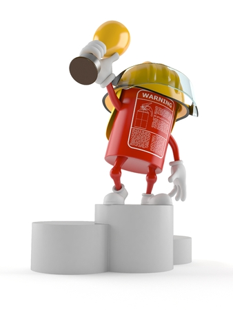 Fire extinguisher character holding golden trophy isolated on white background Stock Photo