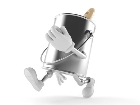 Paint can character running on white background