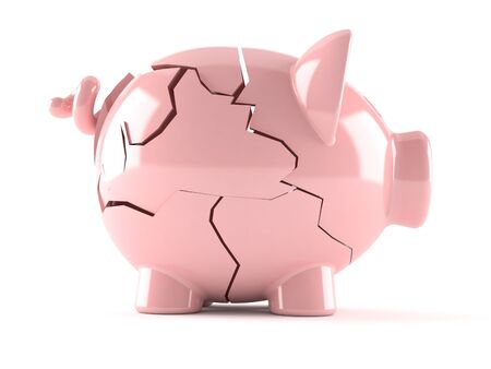 Broken Piggy bank isolated on white background 스톡 콘텐츠