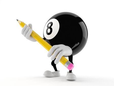 Eight ball character holding pencil isolated on white background