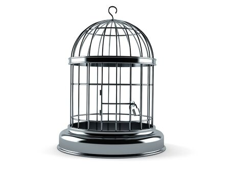 Empty birdcage isolated on white background