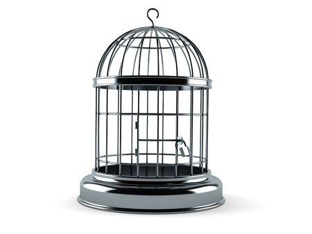 Empty birdcage isolated on white background