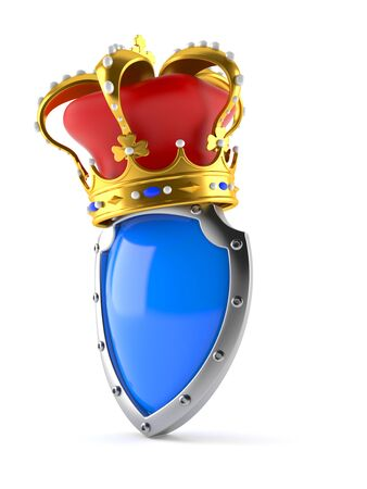 Shield with crown isolated on white background