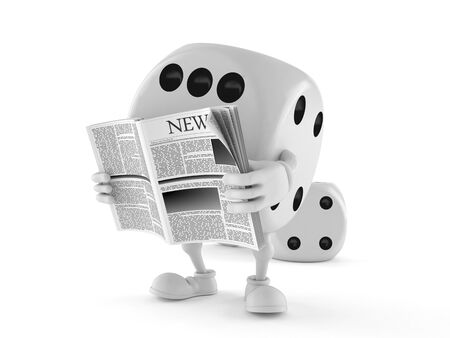 Dice character reading newspaper isolated on white background