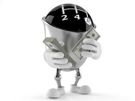 Gear knob character counting money on white background