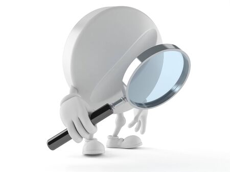 Tablet character looking through magnifying glass isolated on white background Stock Photo
