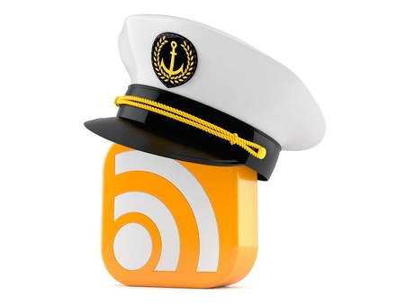 RSS icon with captain hat isolated on white background