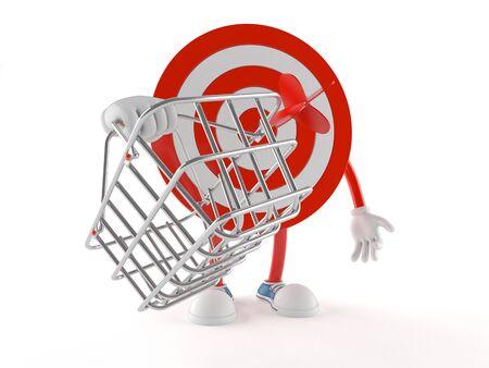 Bulls eye character holding shopping basket isolated on white background