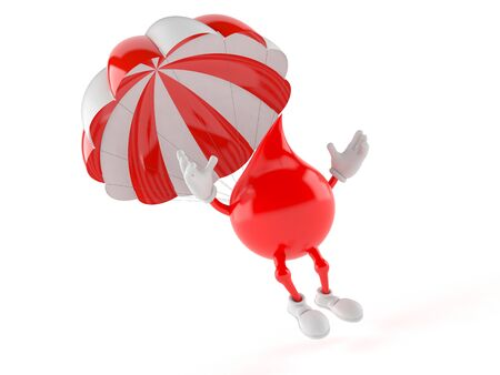 Blood drop character with parachute isolated on white background