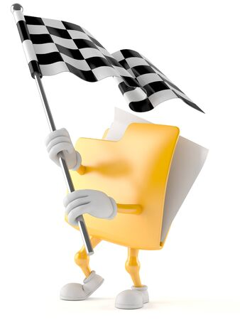 Folder character with racing flag isolated on white background