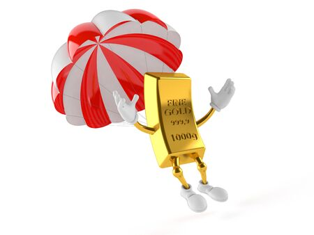 Gold character with parachute isolated on white background Stock Photo