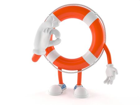 Life buoy character with ok gesture isolated on white background