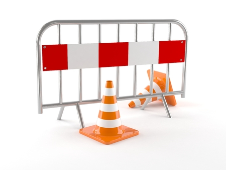 Barrier with traffic cones isolated on white background
