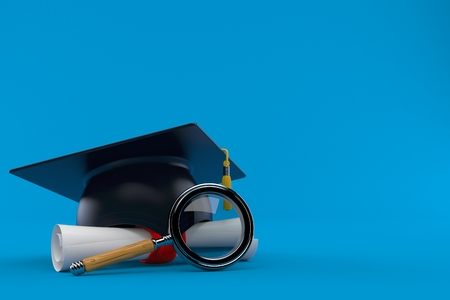 Mortarboard with certificate and magnifying glass isolated on blue background