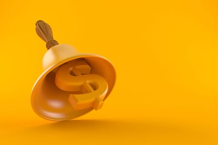 Handbell with currency dollar symbol isolated on orange background Stock Photo