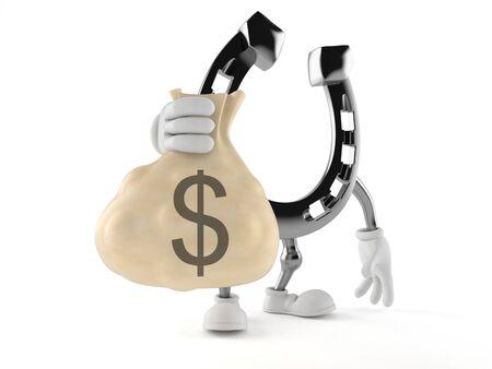 Horseshoe character holding money bag isolated on white background
