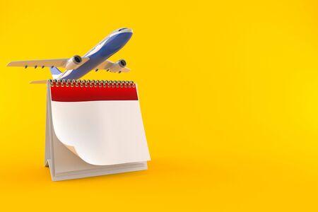 Flight date concept isolated on orange background
