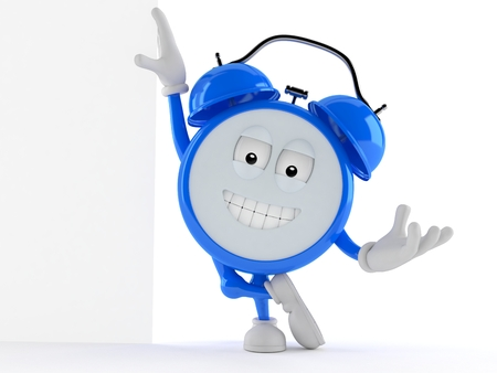Alarm clock character leaning against a wall isolated on white background