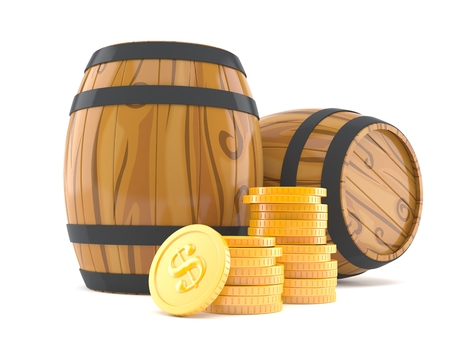 Vat met stapel muntstukken op witte achtergrond worden geïsoleerd die Stockfoto